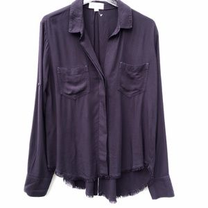 Cloth & Stone Button Up Split Raw Hem Shirt Top